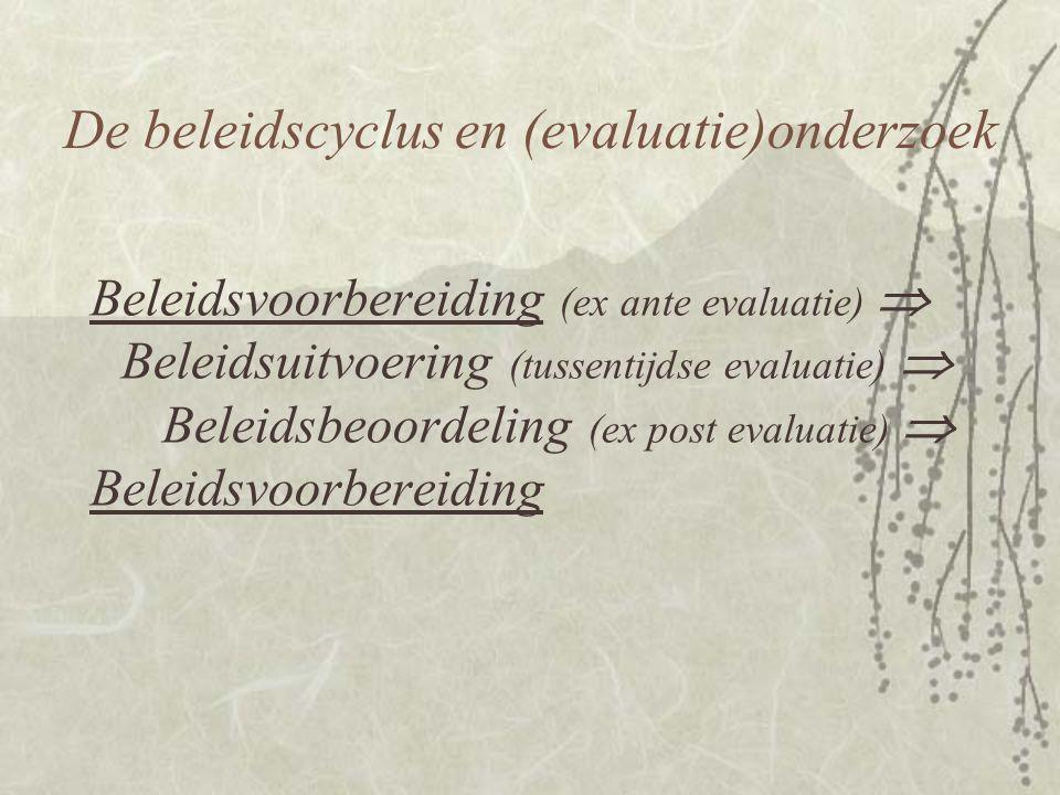 Beleidsvoorbereiding (ex ante evaluatie)  Beleidsuitvoering (tussentijdse evaluatie)  Beleidsbeoordeling (ex post evaluatie)  Beleidsvoorbereiding De beleidscyclus en (evaluatie)onderzoek