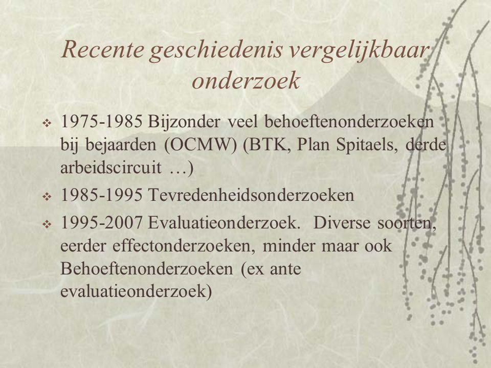 Recente geschiedenis vergelijkbaar onderzoek  1975-1985 Bijzonder veel behoeftenonderzoeken bij bejaarden (OCMW) (BTK, Plan Spitaels, derde arbeidscircuit …)  1985-1995 Tevredenheidsonderzoeken  1995-2007 Evaluatieonderzoek.