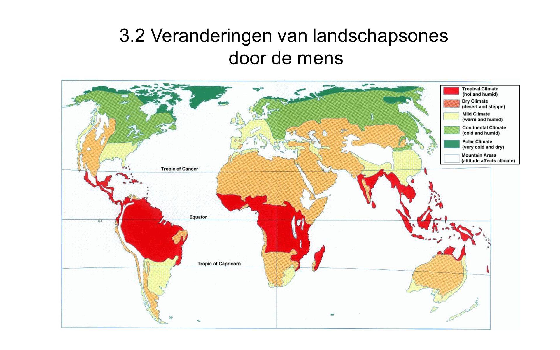 3.2 Veranderingen van landschapsones door de mens