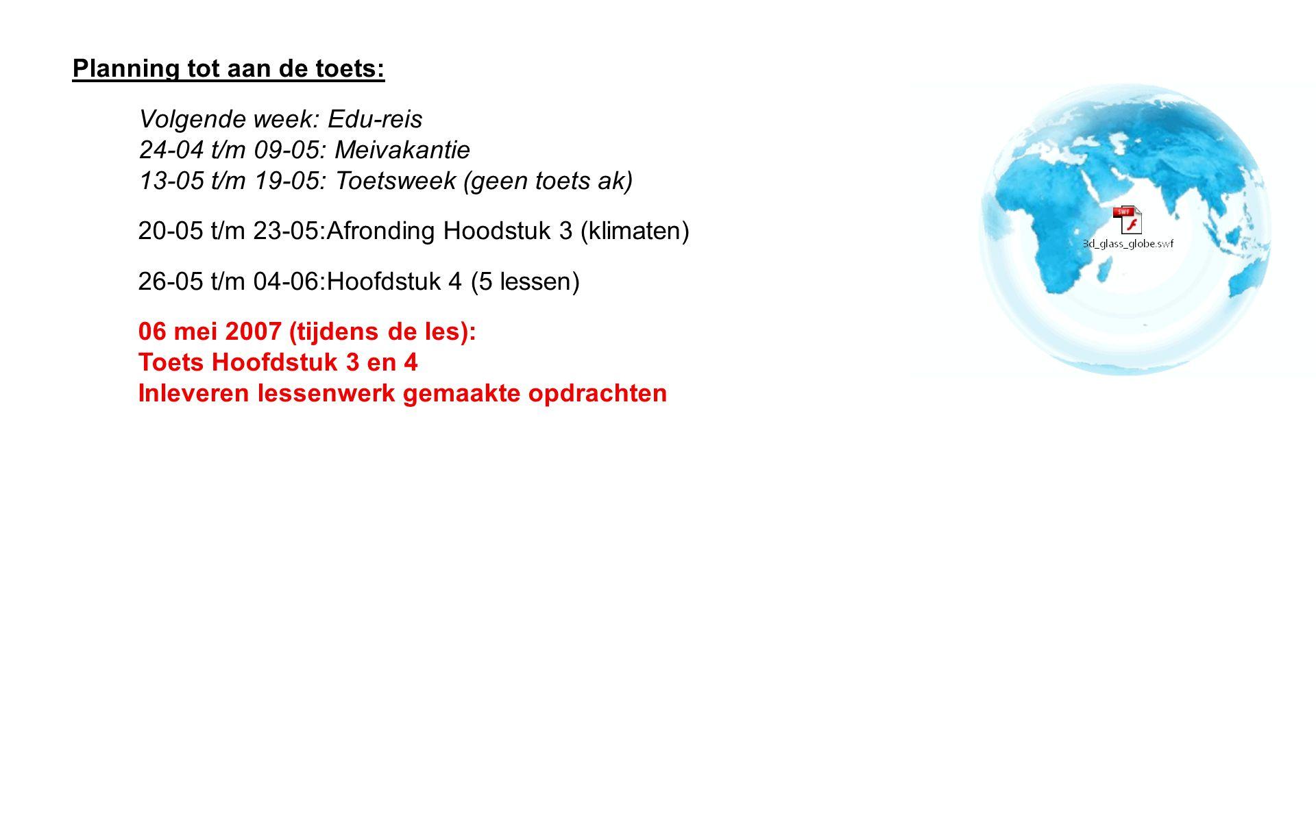 Planning tot aan de toets: Volgende week: Edu-reis 24-04 t/m 09-05: Meivakantie 13-05 t/m 19-05: Toetsweek (geen toets ak) 20-05 t/m 23-05: Afronding