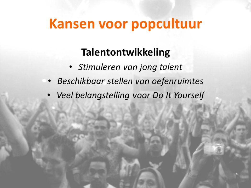 Kansen voor popcultuur Clustering Lokale poporganisaties, vrijwilligersorganisaties van popmuzikanten bundelen de krachten Verschillende functies & accommodaties kunnen elkaar versterken