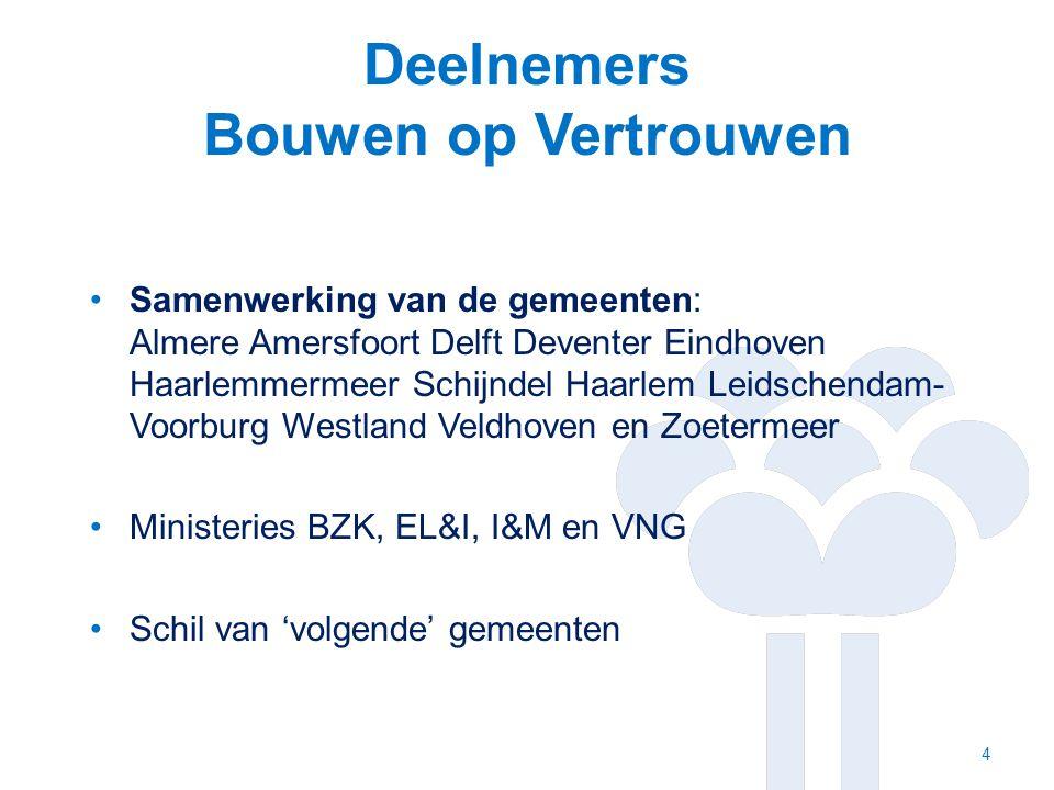 Deelnemers Bouwen op Vertrouwen Samenwerking van de gemeenten: Almere Amersfoort Delft Deventer Eindhoven Haarlemmermeer Schijndel Haarlem Leidschendam- Voorburg Westland Veldhoven en Zoetermeer Ministeries BZK, EL&I, I&M en VNG Schil van 'volgende' gemeenten 4