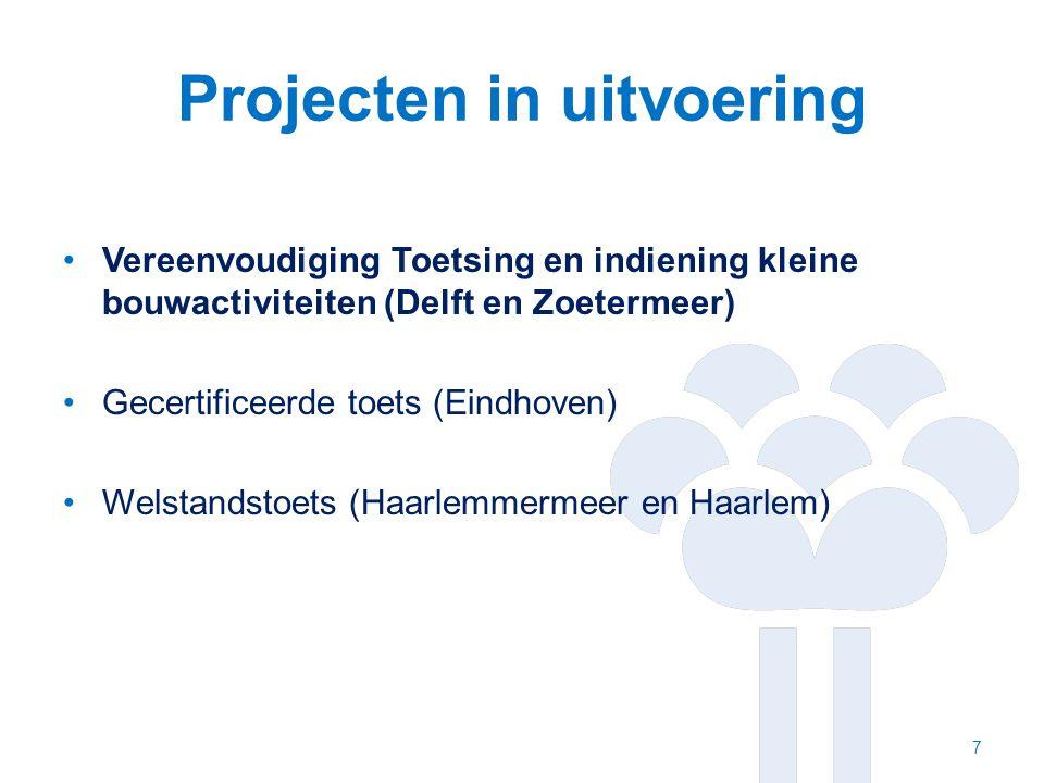 Projecten in uitvoering Vereenvoudiging Toetsing en indiening kleine bouwactiviteiten (Delft en Zoetermeer) Gecertificeerde toets (Eindhoven) Welstandstoets (Haarlemmermeer en Haarlem) 7