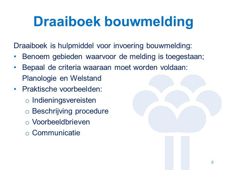 Draaiboek bouwmelding Draaiboek is hulpmiddel voor invoering bouwmelding: Benoem gebieden waarvoor de melding is toegestaan; Bepaal de criteria waaraa