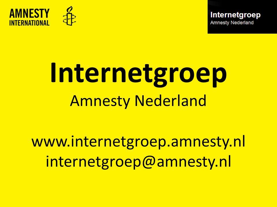Internetgroep Amnesty Nederland www.internetgroep.amnesty.nl internetgroep@amnesty.nl