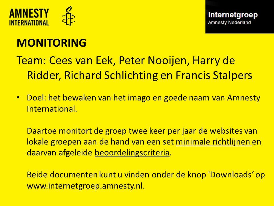 MONITORING Team: Cees van Eek, Peter Nooijen, Harry de Ridder, Richard Schlichting en Francis Stalpers Doel: het bewaken van het imago en goede naam van Amnesty International.