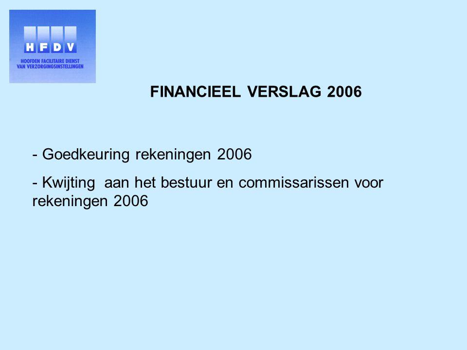FINANCIEEL VERSLAG 2006 - Goedkeuring rekeningen 2006 - Kwijting aan het bestuur en commissarissen voor rekeningen 2006