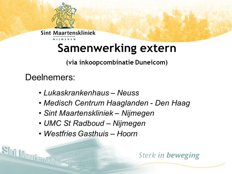 Samenwerking extern (via inkoopcombinatie Duneicom) Lukaskrankenhaus – Neuss Medisch Centrum Haaglanden - Den Haag Sint Maartenskliniek – Nijmegen UMC