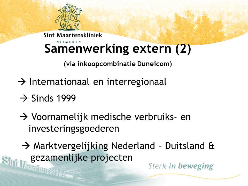  Internationaal en interregionaal Samenwerking extern (2) (via inkoopcombinatie Duneicom)  Sinds 1999  Voornamelijk medische verbruiks- en invester