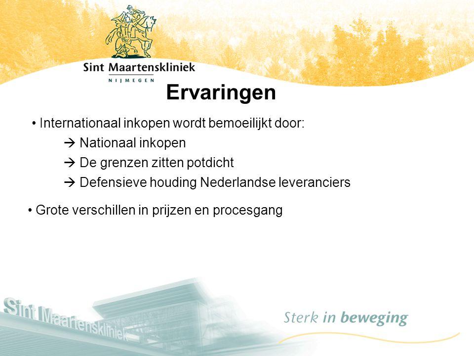 Ervaringen Internationaal inkopen wordt bemoeilijkt door:  Nationaal inkopen  De grenzen zitten potdicht  Defensieve houding Nederlandse leverancie