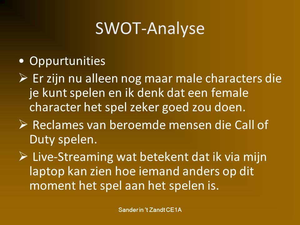 Sander in 't Zandt CE1A SWOT-Analyse Oppurtunities  Er zijn nu alleen nog maar male characters die je kunt spelen en ik denk dat een female character