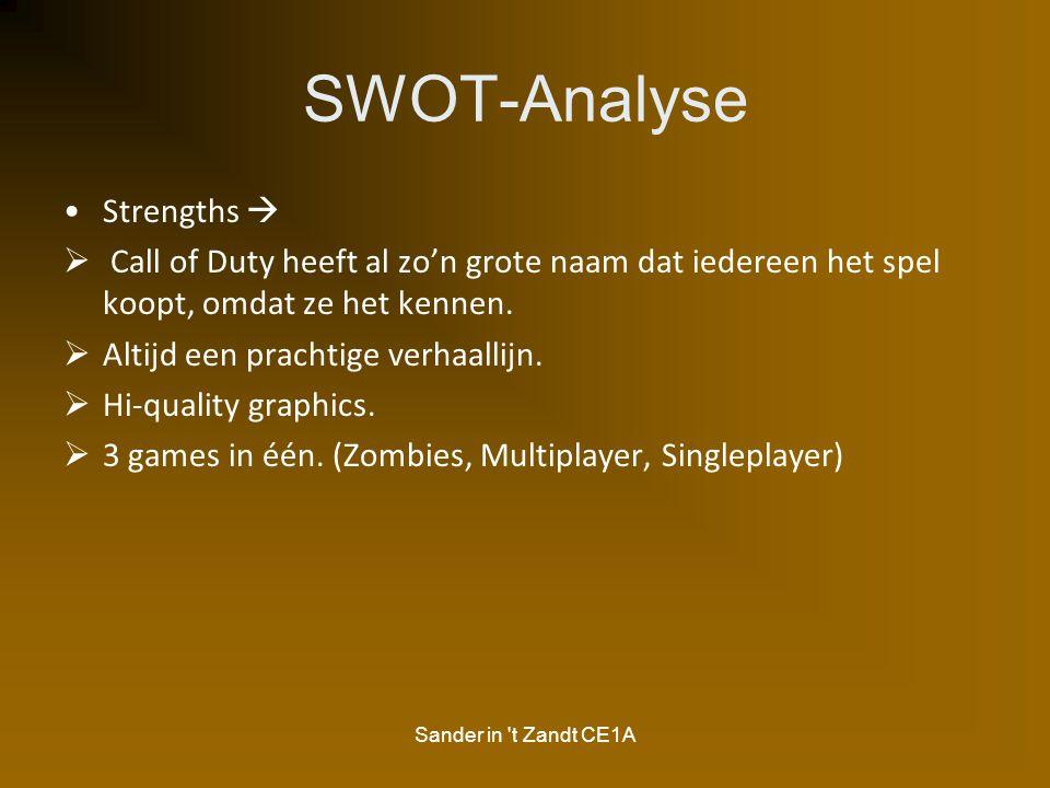 Sander in 't Zandt CE1A SWOT-Analyse Strengths   Call of Duty heeft al zo'n grote naam dat iedereen het spel koopt, omdat ze het kennen.  Altijd ee