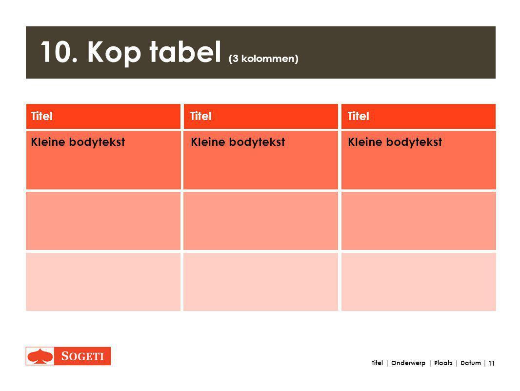 11 Titel | Onderwerp | Plaats | Datum | 10. Kop tabel (3 kolommen) Titel Kleine bodytekst