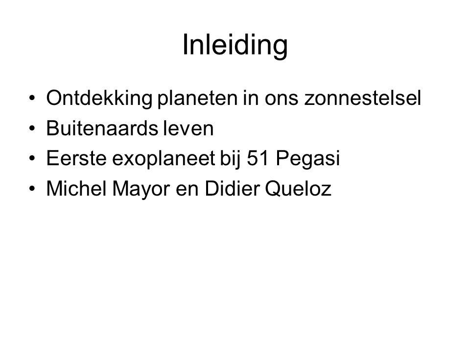 Inleiding Ontdekking planeten in ons zonnestelsel Buitenaards leven Eerste exoplaneet bij 51 Pegasi Michel Mayor en Didier Queloz