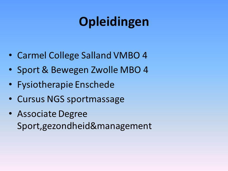 Opleidingen Carmel College Salland VMBO 4 Sport & Bewegen Zwolle MBO 4 Fysiotherapie Enschede Cursus NGS sportmassage Associate Degree Sport,gezondheid&management