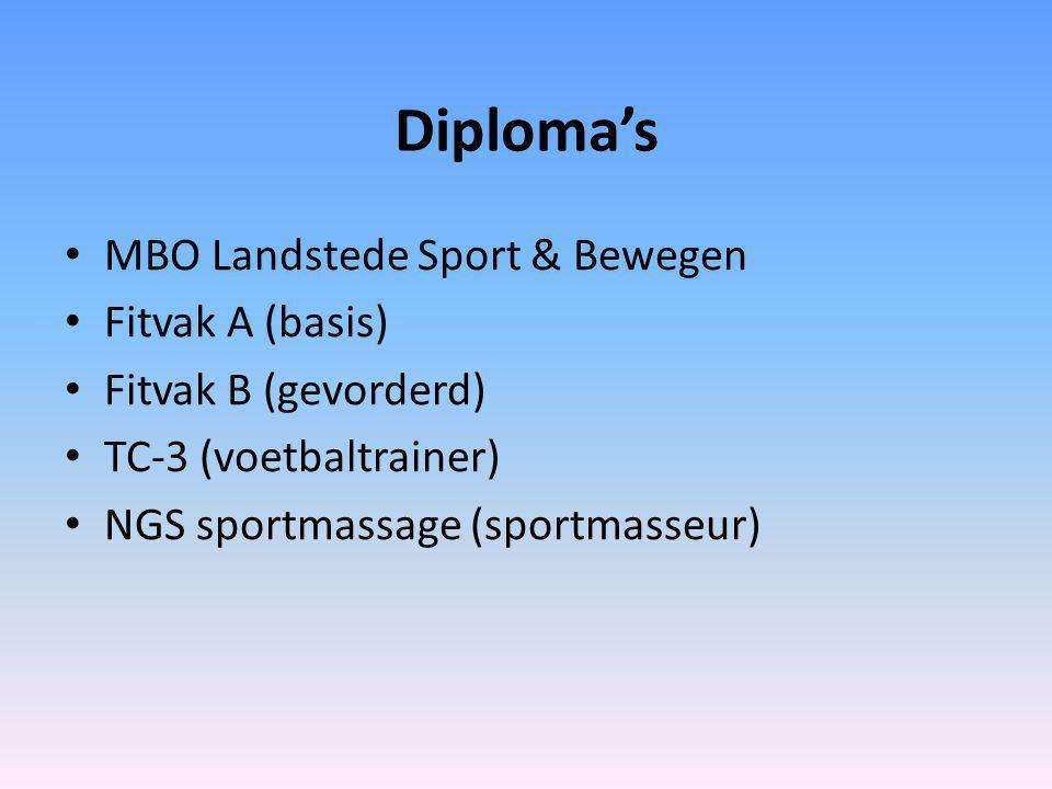 Diploma's MBO Landstede Sport & Bewegen Fitvak A (basis) Fitvak B (gevorderd) TC-3 (voetbaltrainer) NGS sportmassage (sportmasseur)