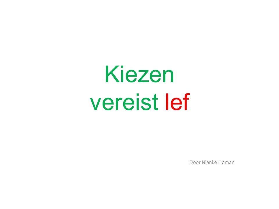 Kiezen vereist lef Door Nienke Homan