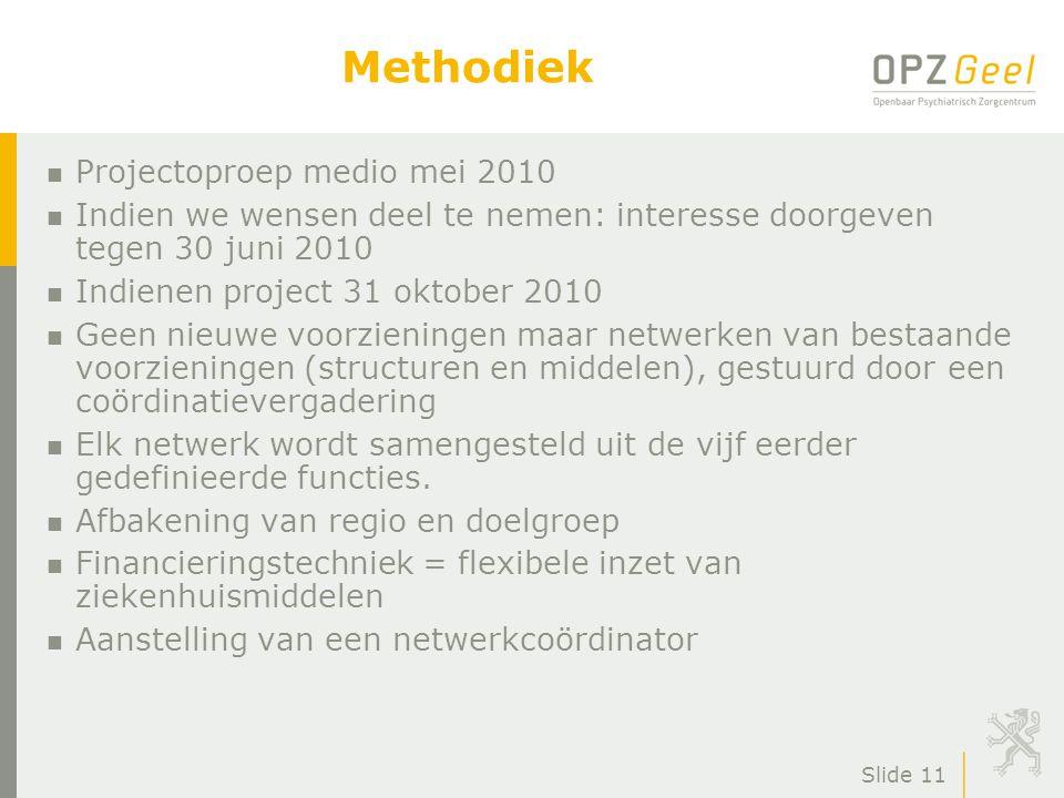 Slide 11 Methodiek n Projectoproep medio mei 2010 n Indien we wensen deel te nemen: interesse doorgeven tegen 30 juni 2010 n Indienen project 31 oktob