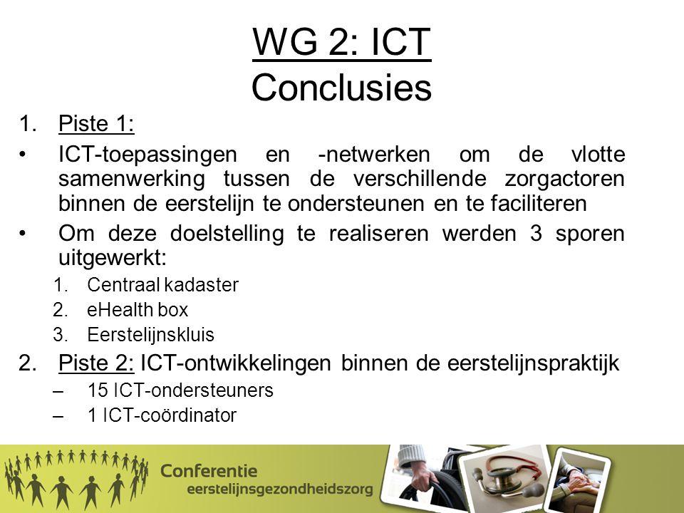 WG 2: ICT Conclusies 1.Piste 1: ICT-toepassingen en -netwerken om de vlotte samenwerking tussen de verschillende zorgactoren binnen de eerstelijn te ondersteunen en te faciliteren Om deze doelstelling te realiseren werden 3 sporen uitgewerkt: 1.Centraal kadaster 2.eHealth box 3.Eerstelijnskluis 2.Piste 2: ICT-ontwikkelingen binnen de eerstelijnspraktijk –15 ICT-ondersteuners –1 ICT-coördinator