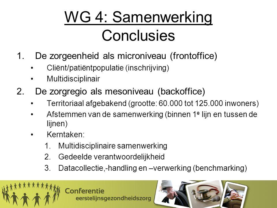 WG 4: Samenwerking Conclusies 1.De zorgeenheid als microniveau (frontoffice) Cliënt/patiëntpopulatie (inschrijving) Multidisciplinair 2.De zorgregio als mesoniveau (backoffice) Territoriaal afgebakend (grootte: 60.000 tot 125.000 inwoners) Afstemmen van de samenwerking (binnen 1 e lijn en tussen de lijnen) Kerntaken: 1.Multidisciplinaire samenwerking 2.Gedeelde verantwoordelijkheid 3.Datacollectie,-handling en –verwerking (benchmarking)