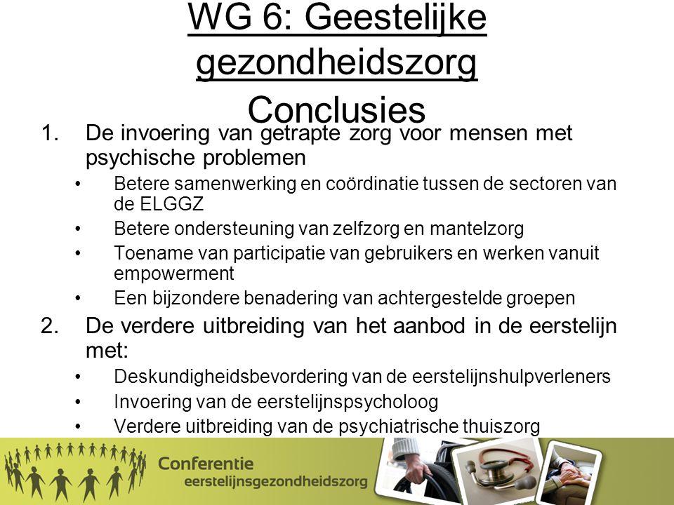 WG 6: Geestelijke gezondheidszorg Conclusies 1.De invoering van getrapte zorg voor mensen met psychische problemen Betere samenwerking en coördinatie tussen de sectoren van de ELGGZ Betere ondersteuning van zelfzorg en mantelzorg Toename van participatie van gebruikers en werken vanuit empowerment Een bijzondere benadering van achtergestelde groepen 2.De verdere uitbreiding van het aanbod in de eerstelijn met: Deskundigheidsbevordering van de eerstelijnshulpverleners Invoering van de eerstelijnspsycholoog Verdere uitbreiding van de psychiatrische thuiszorg