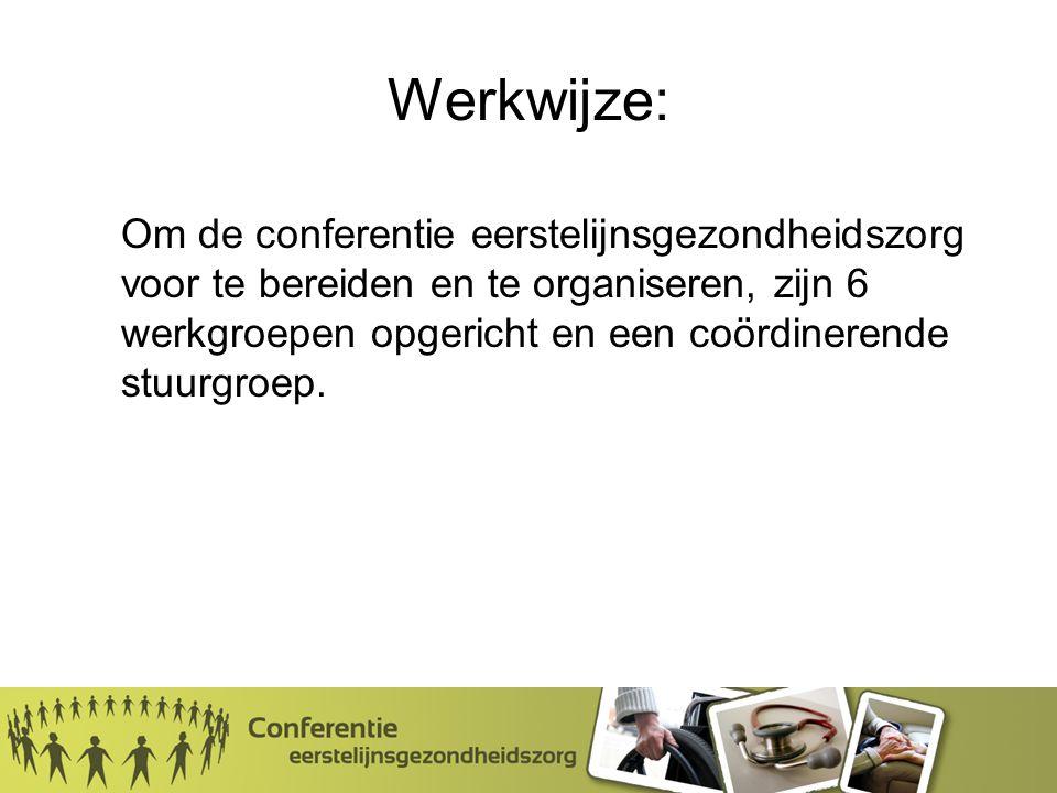 Werkwijze: Om de conferentie eerstelijnsgezondheidszorg voor te bereiden en te organiseren, zijn 6 werkgroepen opgericht en een coördinerende stuurgroep.
