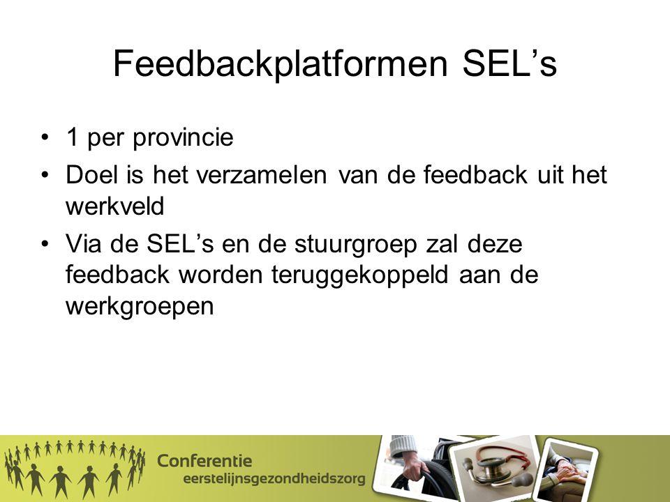 Feedbackplatformen SEL's 1 per provincie Doel is het verzamelen van de feedback uit het werkveld Via de SEL's en de stuurgroep zal deze feedback worden teruggekoppeld aan de werkgroepen