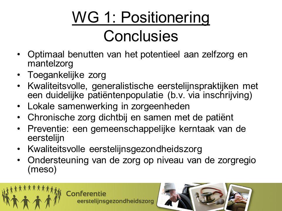 WG 1: Positionering Conclusies Optimaal benutten van het potentieel aan zelfzorg en mantelzorg Toegankelijke zorg Kwaliteitsvolle, generalistische eerstelijnspraktijken met een duidelijke patiëntenpopulatie (b.v.