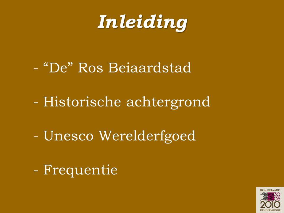 """Inleiding - """"De"""" Ros Beiaardstad - Historische achtergrond - Unesco Werelderfgoed - Frequentie"""