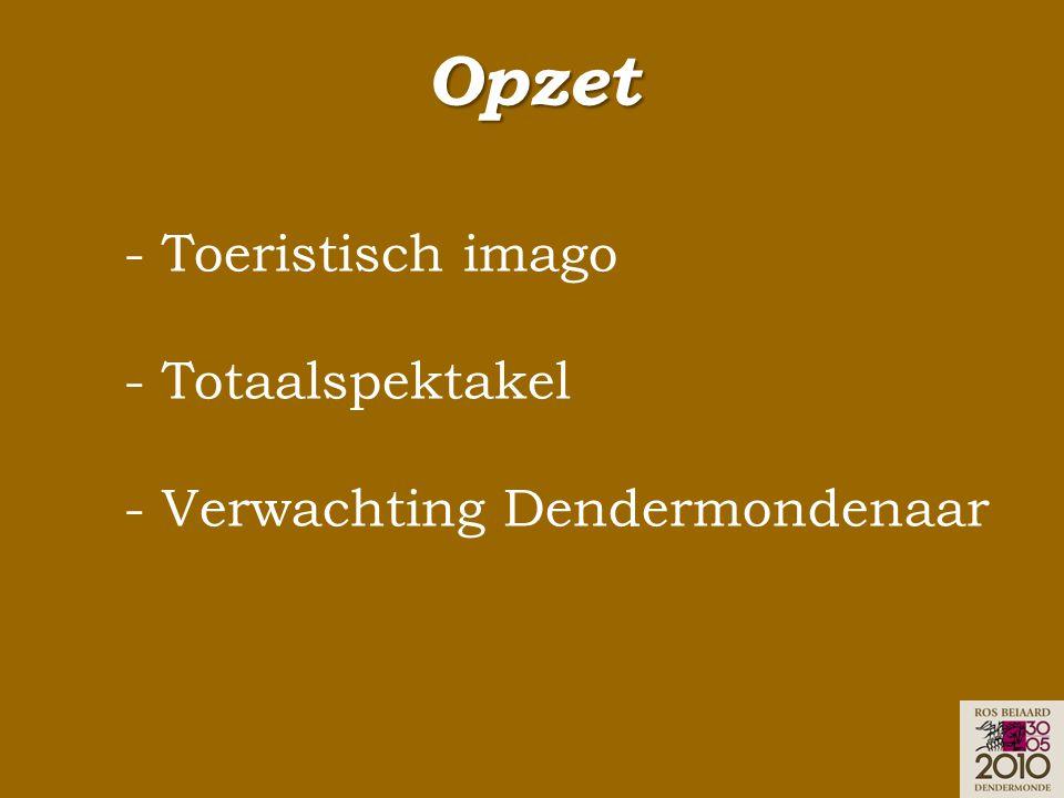 Opzet - Toeristisch imago - Totaalspektakel - Verwachting Dendermondenaar