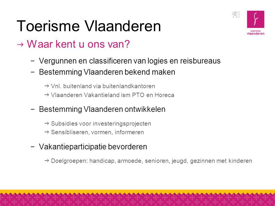 Toerisme Vlaanderen  Waar kent u ons van.