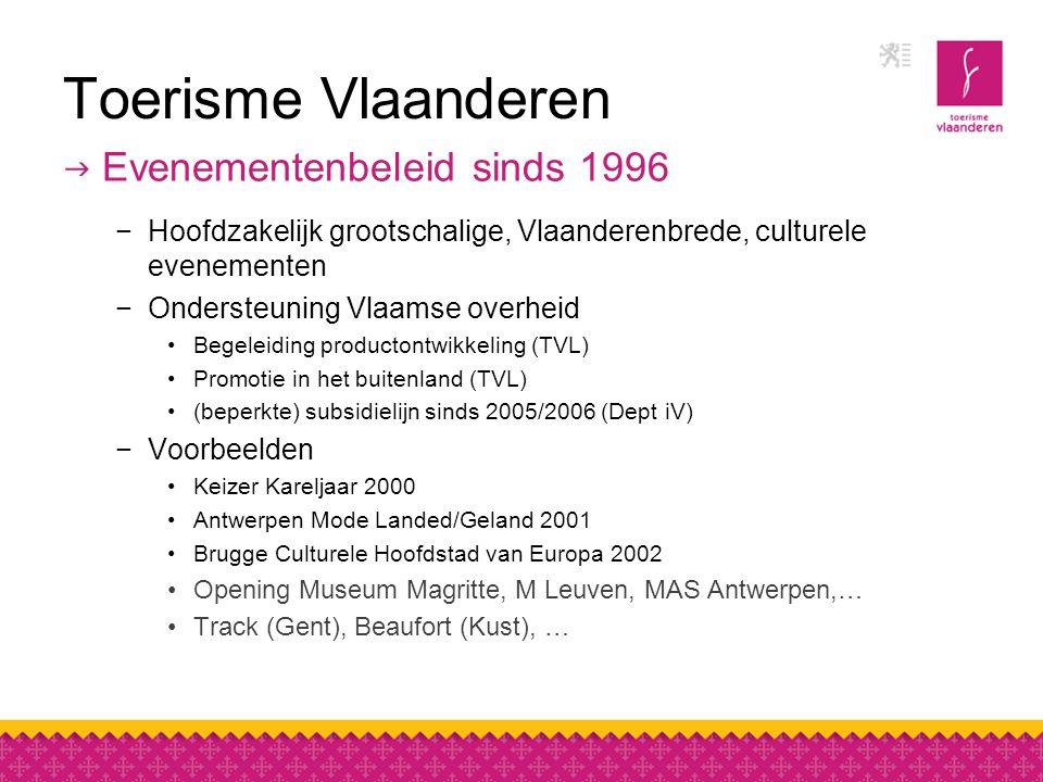 Toerisme Vlaanderen  Evenementenbeleid sinds 1996 −Hoofdzakelijk grootschalige, Vlaanderenbrede, culturele evenementen −Ondersteuning Vlaamse overheid Begeleiding productontwikkeling (TVL) Promotie in het buitenland (TVL) (beperkte) subsidielijn sinds 2005/2006 (Dept iV) −Voorbeelden Keizer Kareljaar 2000 Antwerpen Mode Landed/Geland 2001 Brugge Culturele Hoofdstad van Europa 2002 Opening Museum Magritte, M Leuven, MAS Antwerpen,… Track (Gent), Beaufort (Kust), …
