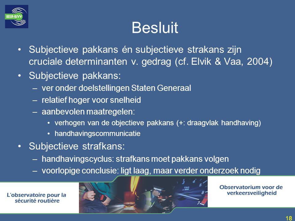 18 Besluit Subjectieve pakkans én subjectieve strakans zijn cruciale determinanten v. gedrag (cf. Elvik & Vaa, 2004) Subjectieve pakkans: –ver onder d