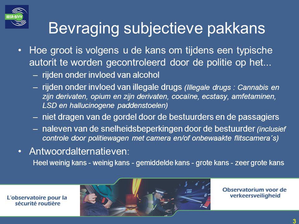4 Resultaten subjectieve pakkans Doelstelling SGVV 2002: 90% zeer grote kans antwoorden voor alcohol en drugs Evolutie pakkans moeilijk interpreteerbaar Percentage grote + zeer grote kans antwoorden: