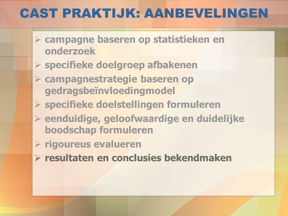 CAST PRAKTIJK: AANBEVELINGEN  campagne baseren op statistieken en onderzoek  specifieke doelgroep afbakenen  campagnestrategie baseren op gedragsbe