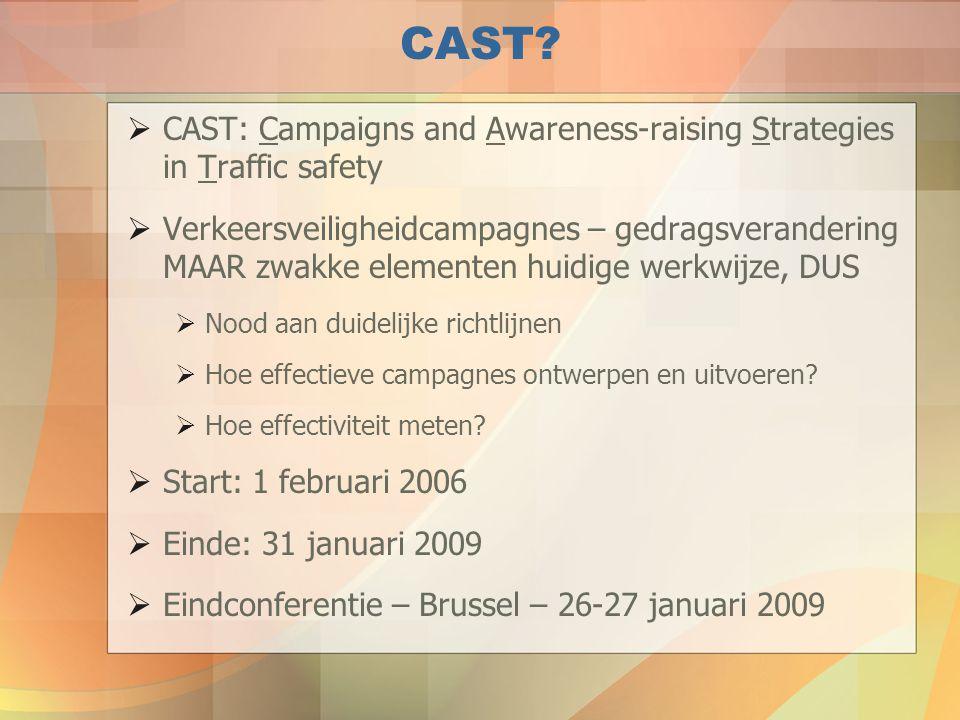 CAST?  CAST: Campaigns and Awareness-raising Strategies in Traffic safety  Verkeersveiligheidcampagnes – gedragsverandering MAAR zwakke elementen hu