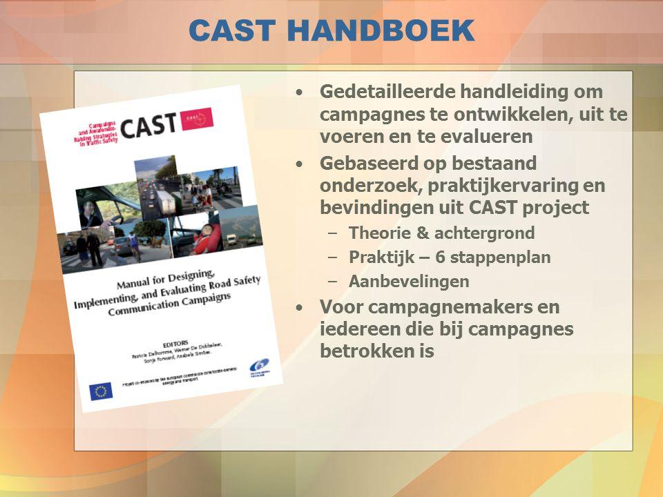 CAST PRAKTIJK: AANBEVELINGEN  campagne baseren op statistieken en onderzoek  specifieke doelgroep afbakenen  campagnestrategie baseren op gedragsmodel  Op welk gedrag kan een campagne zich richten.