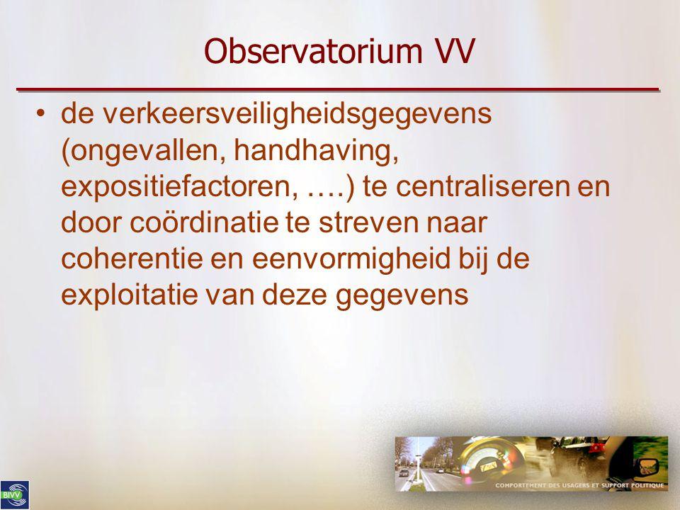 Observatorium VV de verkeersveiligheidsgegevens (ongevallen, handhaving, expositiefactoren, ….) te centraliseren en door coördinatie te streven naar coherentie en eenvormigheid bij de exploitatie van deze gegevens