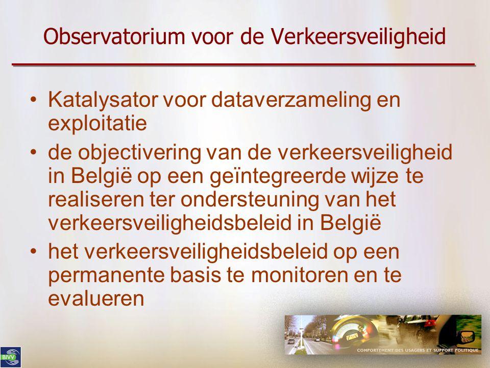 Observatorium voor de Verkeersveiligheid Katalysator voor dataverzameling en exploitatie de objectivering van de verkeersveiligheid in België op een geïntegreerde wijze te realiseren ter ondersteuning van het verkeersveiligheidsbeleid in België het verkeersveiligheidsbeleid op een permanente basis te monitoren en te evalueren