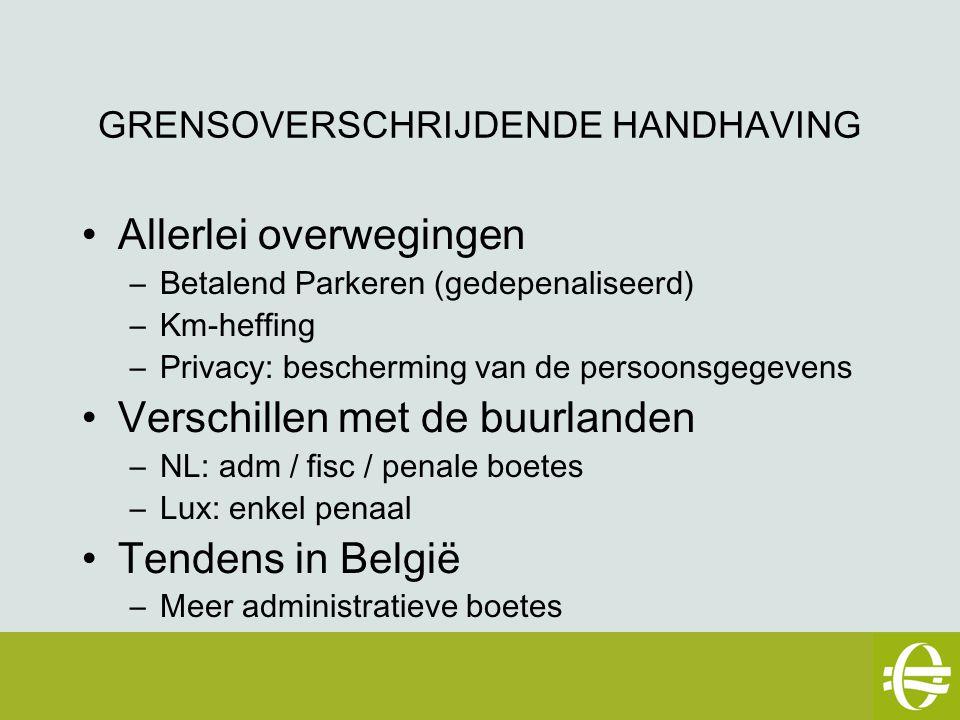 GRENSOVERSCHRIJDENDE HANDHAVING Allerlei overwegingen –Betalend Parkeren (gedepenaliseerd) –Km-heffing –Privacy: bescherming van de persoonsgegevens Verschillen met de buurlanden –NL: adm / fisc / penale boetes –Lux: enkel penaal Tendens in België –Meer administratieve boetes eSafety workshop – 2 mei 2007