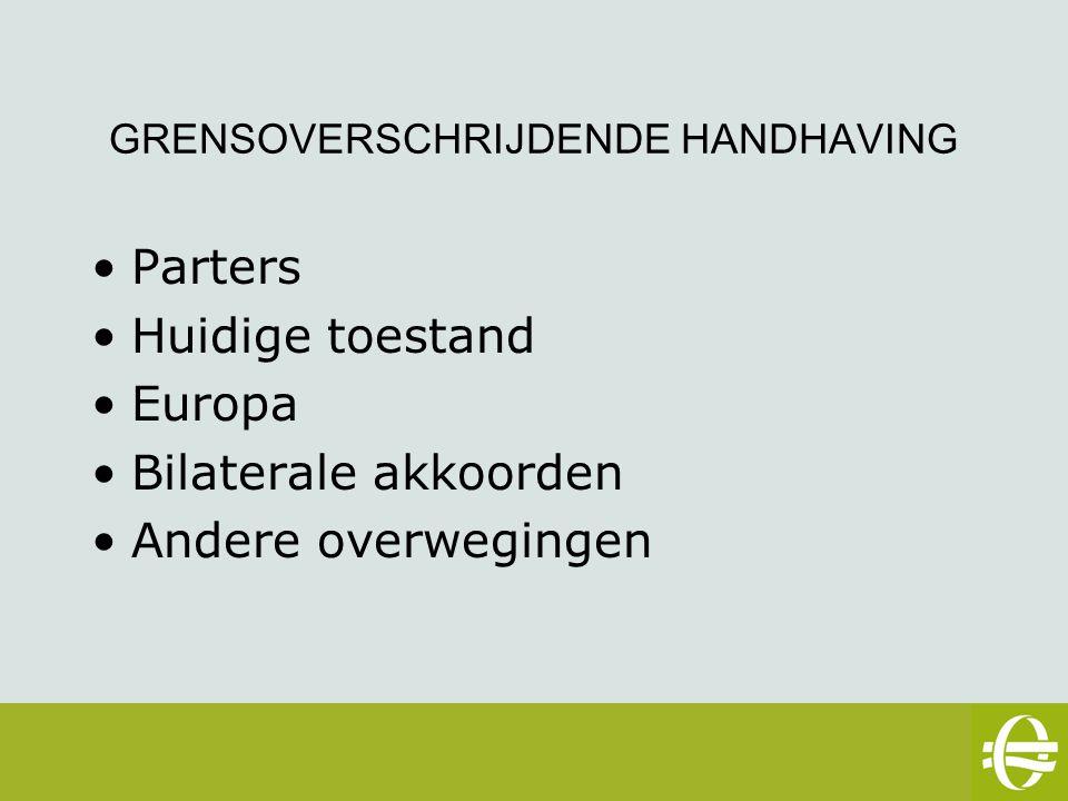 GRENSOVERSCHRIJDENDE HANDHAVING Parters Huidige toestand Europa Bilaterale akkoorden Andere overwegingen eSafety workshop – 2 mei 2007