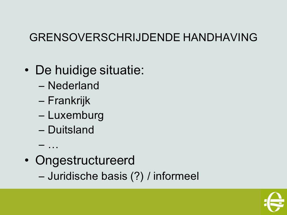 GRENSOVERSCHRIJDENDE HANDHAVING De huidige situatie: –Nederland –Frankrijk –Luxemburg –Duitsland –… Ongestructureerd –Juridische basis (?) / informeel