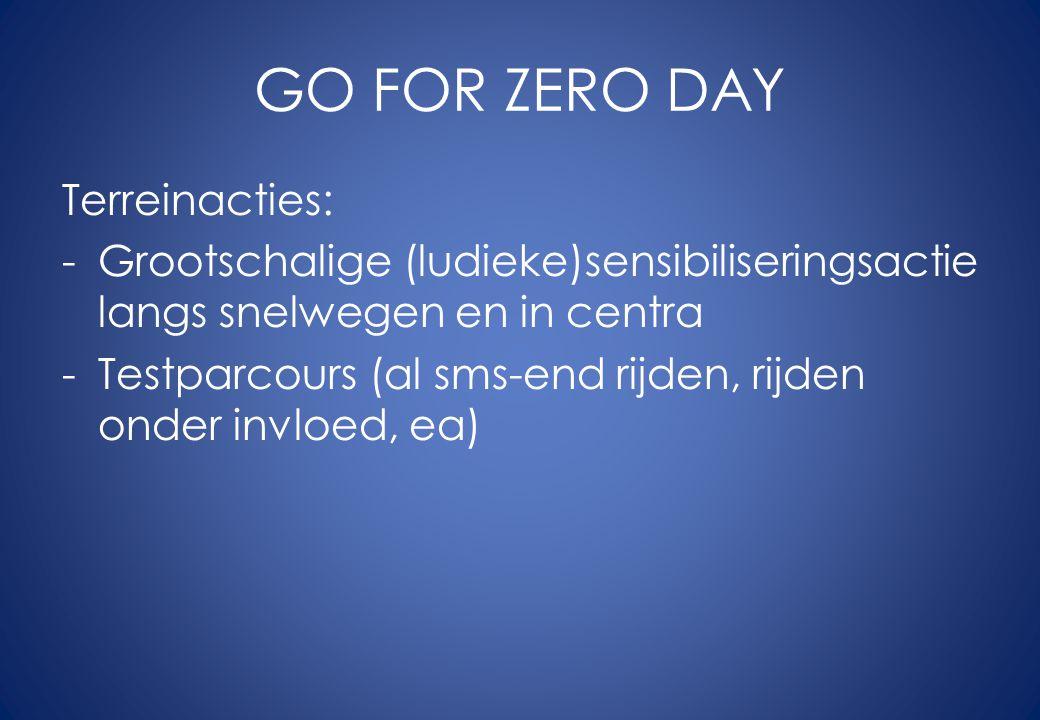 GO FOR ZERO DAY Terreinacties: -Grootschalige (ludieke)sensibiliseringsactie langs snelwegen en in centra -Testparcours (al sms-end rijden, rijden onder invloed, ea)
