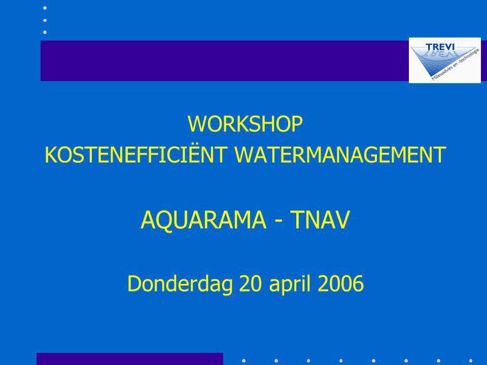 WORKSHOP KOSTENEFFICIËNT WATERMANAGEMENT AQUARAMA - TNAV Donderdag 20 april 2006
