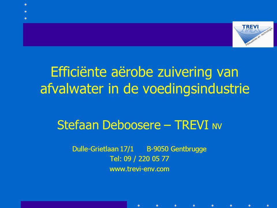 Efficiënte aërobe zuivering van afvalwater in de voedingsindustrie Stefaan Deboosere – TREVI NV Dulle-Grietlaan 17/1 B-9050 Gentbrugge Tel: 09 / 220 0