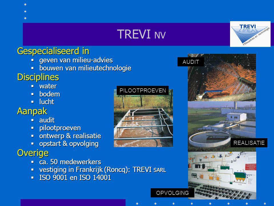 TREVI NV Gespecialiseerd in  geven van milieu-advies  bouwen van milieutechnologie Disciplines  water  bodem  lucht Aanpak  audit  pilootproeve