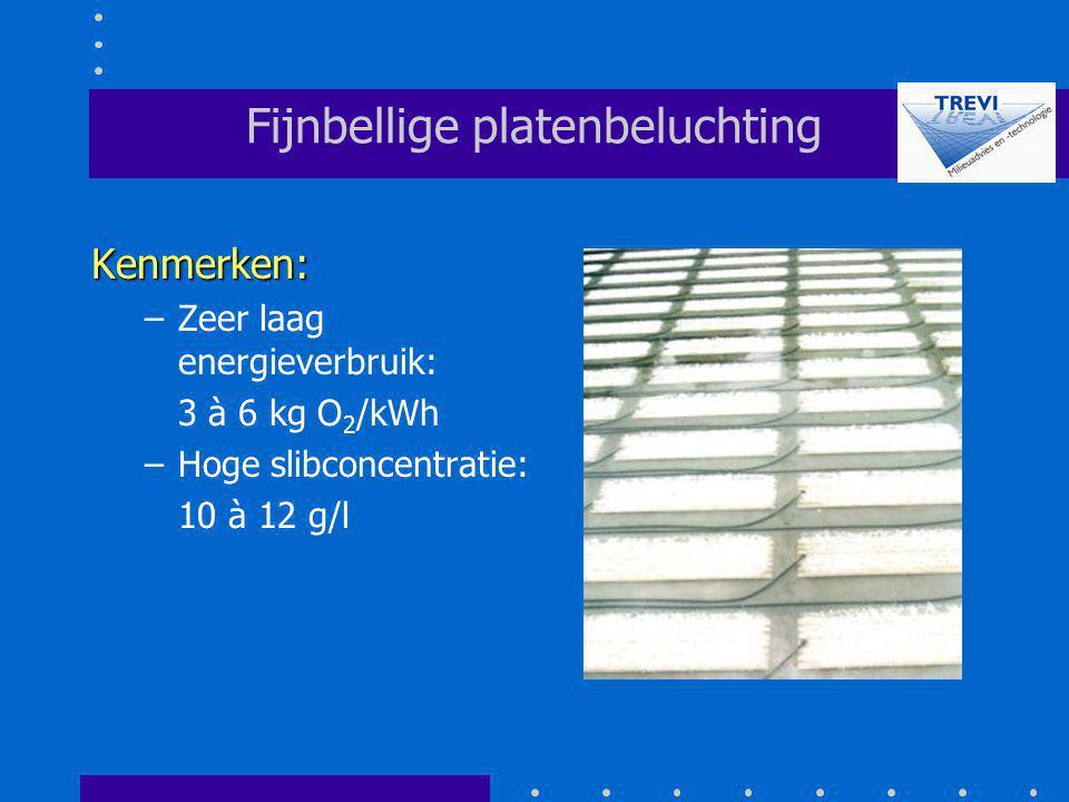 Fijnbellige platenbeluchting Kenmerken: –Zeer laag energieverbruik: 3 à 6 kg O 2 /kWh –Hoge slibconcentratie: 10 à 12 g/l