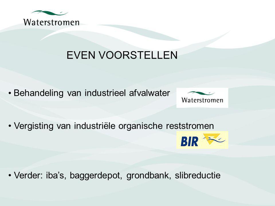Behandeling van industrieel afvalwater Vergisting van industriële organische reststromen Verder: iba's, baggerdepot, grondbank, slibreductie EVEN VOOR