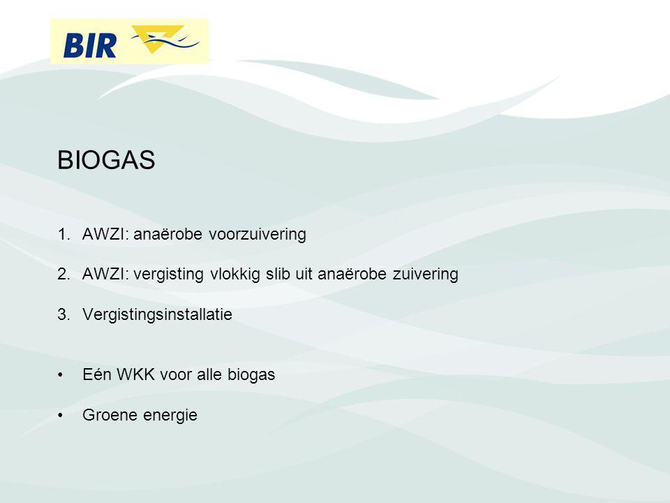 BIOGAS 1.AWZI: anaërobe voorzuivering 2.AWZI: vergisting vlokkig slib uit anaërobe zuivering 3.Vergistingsinstallatie Eén WKK voor alle biogas Groene