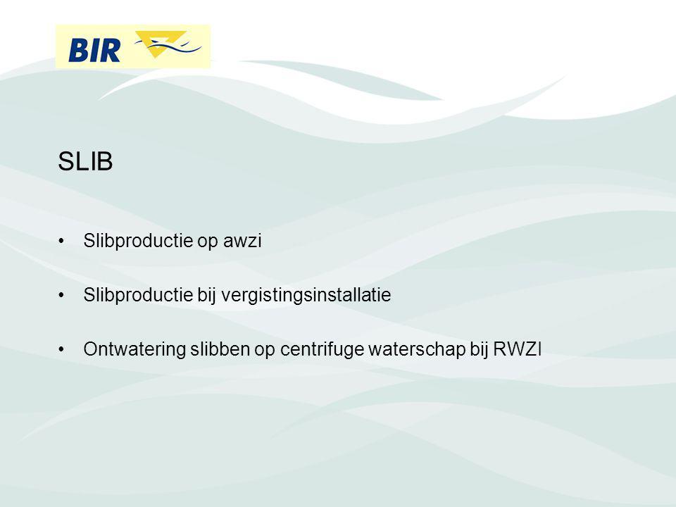 SLIB Slibproductie op awzi Slibproductie bij vergistingsinstallatie Ontwatering slibben op centrifuge waterschap bij RWZI